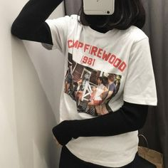 "itGirl Shop FIREWOOD CAMP 1981 PRINT TSHIRT Use coupon ""ITPIN"" to get 10% OFF entire order - itgirlclothing.com 