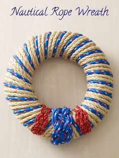 Love this modern twist on a rope wreath - mix poly top with the sisal for a clean, nautical look