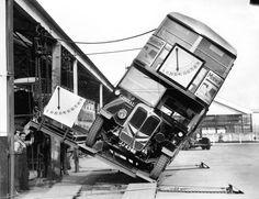 """""""Tilt test"""" of a double-decker bus in London, 1933"""