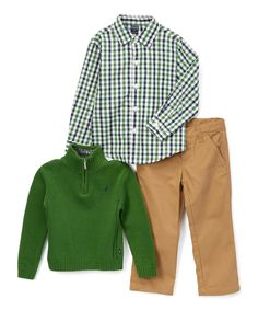 This Nautica Green Three-Piece Pullover Set - Infant & Toddler by Nautica is perfect! #zulilyfinds