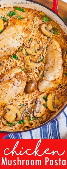 10 Most Misleading Foods That We Imagined Were Being Nutritious! Creamy Mushroom and Chicken Pasta Recipe Video - Tatyanas Everyday Food Pasta Recipes Video, Best Pasta Recipes, Chicken Pasta Recipes, Best Dinner Recipes, Beef Recipes, Cooking Recipes, Chicken Ideas, Popular Recipes, Turkey Recipes