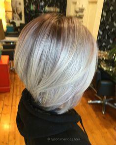 Platinum blonde balayage lob hair