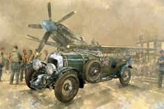Buy Bentley and Spitfire (oil on canvas) by Peter Miller - The Bazaar