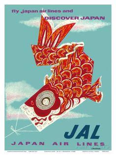 Discover Japan - Fly Japan Air Lines (JAL) - Japanese Koinobori (Carp Streamer) Taidevedos
