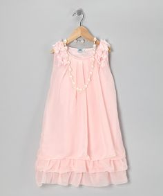 Pink Sheer Layered Dress & Pearl Necklace - Girls