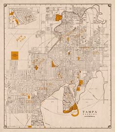 Vintage map of Tampa (Florida) Tampa Florida, Old City, Pigment Ink, Vintage World Maps, Canon, Printer, Canvas Prints, How To Plan