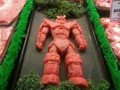 sculptures en viande hachee geek 7   Les sculptures en viande hachée de Epic Grinds   viande Sculpture pop culture Kieran Gormley hache