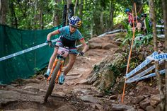 "Emily Batty - Pro MTB Rider for Trek Factory Racing - From her Facebook acct.  ""First laps on course at the 2016 @uci_cycling Mountain Bike World Cup #1 in Cairns, Australia.  #ridefox """
