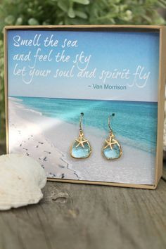 Gift Boxed with Card, Aquamarine glass earrings, 14k gold filled starfish & ear wires, beach jewelry, aqua blue, inspirational card