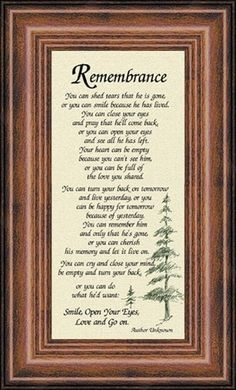 "[""This beautiful framed poem is a wonderful way to remember a man that you have lost. Display this sympathy poem, titled Remembrance<\/i>, in your home for a daily reminder that you must carry on, or give it to a friend or loved one who is suffering a loss and encourage them to face each day with hope and love. Framed in a beautiful solid wood beaded walnut rustic pine frame, this piece as an easel back for display on a table, shelf or desk.Message Reads:<\/b>Rem..."