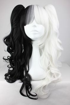 Sell it yourself Details about Lolita Long Curly Anime Black Mixed White Cosplay Hair Wig + Two Ponytails Kawaii Hairstyles, Trendy Hairstyles, Wig Hairstyles, Cosplay Hair, Cosplay Wigs, Anime Cosplay, Buy Cosplay, Anime Wigs, Anime Hair
