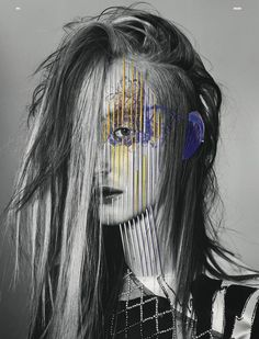 Another great collaboration, this time between photographer Richard Burbridge, Italian artist Maurizio Anzeri and stylist Robbie Spencer for June 2011 issue of Dazed and Confused. Black and white photographs taken by amazing Richard Burbridge were exploded to another dimension by Maurizio Anzeri who is best known for his series of embroidered portraits made from photogrpahs found in flea market. He transformed photos by stiching and sewing directly on them using colored threads.