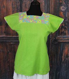 Lime Green & Pastel Color Huipil Hand Embroidery Maya Chiapas Mexico Hippie Boho #Handmade #HuipiltunicHuipil