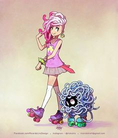 Angela Aysha Lee and her Tangela walking with rollerblades.    #pokemon #trainer #dread #pink #geek #tangela #rollerblades #friends #pokemontrainer #buddy #girl #watercolor #ink #work #digitalart #art #fanart #drawing #anime #game #skates #lira #ricardolira