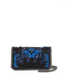 Stella McCartney Falabella Jeweled Crossbody Clutch Bag (47,425 THB) ❤ liked on Polyvore featuring bags, handbags, clutches, black, stella mccartney, jeweled purse, cross body, stella mccartney crossbody and chain strap crossbody purse