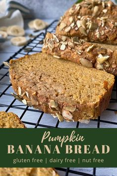 This homemade Pumpkin Banana Bread is made with cassava flour, only sweetened with bananas (no sugar added), super moist, and easy to make!  This slightly sweet recipe is perfect to be eaten with your morning cup of coffee, as an afternoon snack, or topped with honey as a simple Paleo dessert. #fallrecipes #pumpkinspice #paleobread