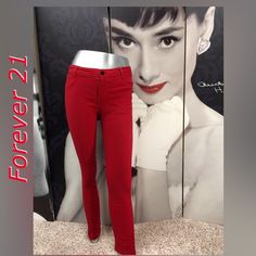 Forever 21 Skinny Pants Very Cute Red Forever 21 Pant with Stretch! Like New Condition! 75% Rayon 22% Nylon 3% Spandex Forever 21 Pants Skinny