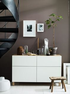 ikea besta-shelf-storage system-sideboard-chest-wood-white-modern-wall color brown Source by stephaniesaatze Ikea Inspiration, Home Living Room, Living Room Decor, Living Spaces, Interior Styling, Interior Design, Brown Walls, Dark Walls, Elle Decor