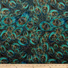 Morgan Peacock Feather Printed Velvet