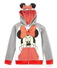 Look at this Red Minnie Ears Zip-Up Hoodie - Girls on #zulily today!