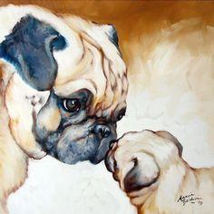 Pug dog art by Marcia Baldwin, 2009 Black Pug Puppies, Funny Puppies, Funny Pugs, Especie Animal, Watercolor Animals, Watercolor Paintings, Pug Love, Animal Paintings, Art Paintings