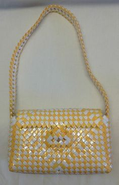Woven Basket Weave Hard Shell Handbag Purse Yellow White Unusual Design