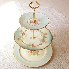 Alice Counts Clouds Vintage China 3 Tier Sky by HighTeaForAlice