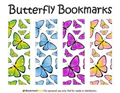 Free printable butterfly bookmarks. Download the PDF template at http://bookmarkbee.com/bookmark/butterfly/