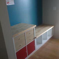 Ikea Kallax Shelf, Ikea Kallax Hack, Ikea Kallax Regal, Ikea Storage, Bench With Storage, Built In Storage, Storage Ideas, Kallax Desk, Expedit Bookcase