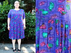Hey, I found this really awesome Etsy listing at https://www.etsy.com/listing/155383279/plus-size-vintage-purple-novelty-print