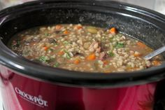 Slow Cooker Beef and Barley Soup via PickyPalate.com