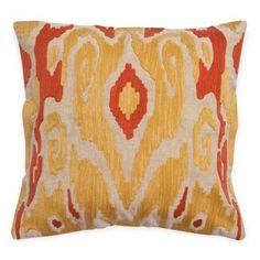 Check out this item at One Kings Lane! Ikat 20x20 Cotton Pillow, Gold