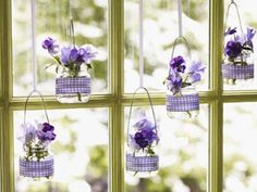 Baby-food jars become gingham-banded, light-infused hanging vases for pansies. http://media-cache1.pinterest.com/upload/114067803032115554_9oA5mbeN_f.jpg joojoobah why didn t i think of that