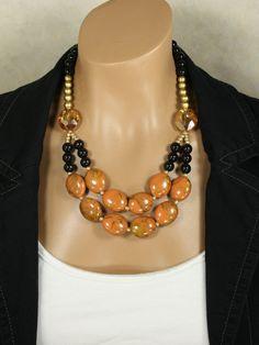Big Gold Yellow Orange Beaded Statement Necklace, Golden Kiss