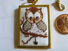 owl pendant, cross stitch pendant, pendant necklace, owl and spider necklace, Halloween, Halloween pendant, Owl jewelry -51