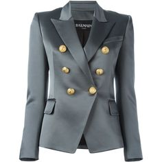 Balmain double breasted blazer ($2,610) ❤ liked on Polyvore featuring outerwear, jackets, blazers, grey, blazer jacket, straight jacket, gray blazer, double breasted blazer and balmain