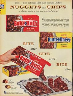 "1960 CURTISS CANDY COMPANY vintage magazine advertisement ""Nuggets and Chips"" ~ Now ... more delicious than ever because Curtiss Nuggets and Chips are being made a new and wonderful way! ... * Baby Ruth * Butterfinger * ... Curtiss Candy Company ... Otto Schnering, Founder (advertisement also includes a half-page section) ~"