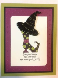 Clever idea using the witch hat on top of boot!  I NEED to order this Bootiful stamp set from SU!!