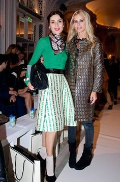 Lara Bohinc wearing the Temperley London Sphinx Knit Jumper and Jewel Jacquard Skirt and Laura Bailey wearing the Temperley London Gilt Coat and ALICE by Temperley Celia Blouse all from the Autumn Winter 2013 collections #TemperleyLFW