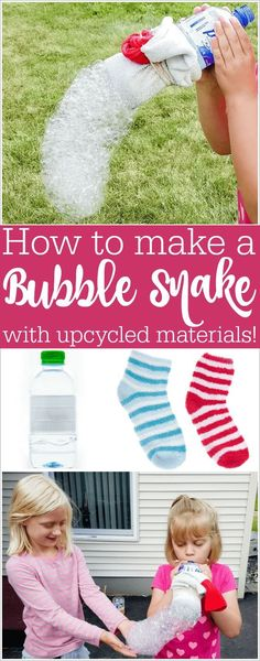 How to make bubble snakes | bubble snake | DIY bubble snake maker for kids | upcycled water bottles | rainbow | fun activities for summer | bubbles with a water bottle | simple outdoor fun | summer projects for kids