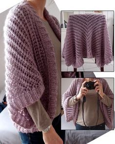 Free Knitting Pattern for Lace Sweater Wrap -This lace cardigan is made by knitting a lace piece, folding and seaming, then picking up stitches for the edge. Design by DROPS Design. Size: S/M – L/XL – XXL/ XXXL. Available in multiple languages. Knitting Designs, Knitting Stitches, Knitting Patterns Free, Knit Patterns, Free Knitting, Knitting Projects, Sweater Patterns, Crochet Cowl Free Pattern, Crochet Lace