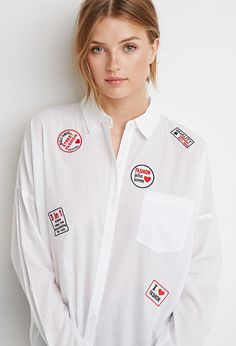 Fashion Patch Shirt - Sale - Sale - 2000130551 - Forever 21 UK