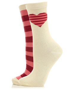 2 Pack Heart Placement And Stripe Socks  Was £4  Now £2