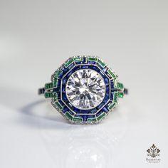 Antique Art Deco Platinum 2.51CTW. Diamond – Emerald & Sapphire Ring ( – Rozental Antiques