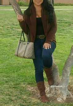 Casual look for a casual gloomy day. Brown cozy sweater jacket with brown boots and brown gucci bag. You don't always have to go all out in dressing up, you can throw on a comfy jacket or sweater and match everything else to go along with it. Follow me @jjlifenstyle- check out jjlifestyle.com