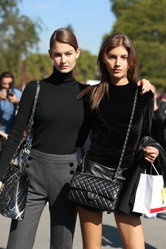 Double trouble. #OphelieGuillermand & #ValeryKaufman #Offduty in Paris.