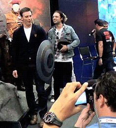 Chris is adorable but look at sebs in the back.. | Its literally life | Sebastian Stan