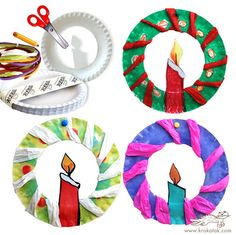 Tissue and paper plate Christmas candle wreath  sc 1 st  Pinterest & Christmas paper plate crafts | Pre-K -- Holidays | Pinterest ...