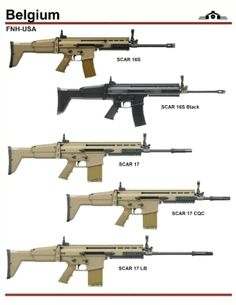 """from top: 1. and 2. are civilian version of SCAR-L, one in FDE color the other in black. 3. SCAR-H Standard with 16"""" barrel 4. SCAR-H CQC[close quarters combat 13"""" barrel 5. LB [long barrel] 20"""" barrel"""
