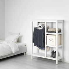 HEMNES Open wardrobe, white stained, Sustainable beauty from sustainably-sourced solid pine, a natural and renewable material that gets more beautiful with each passing year. Combine with other products in the HEMNES series. Open Wardrobe, Clothes Rail, White Stain, Cozy Apartment, Roomspiration, Bedroom Styles, Interior Accessories, My Room, Bedroom Furniture